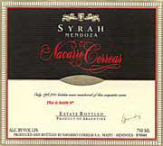 Navarro Correas Syrah 1999 Front Label