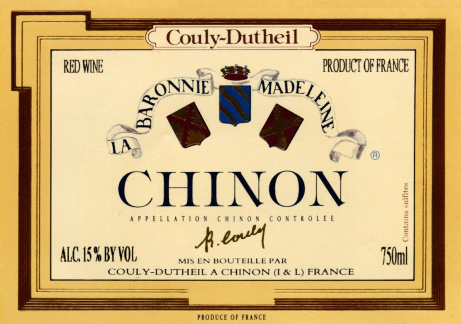 Couly-Dutheil Chinon Barronie Madeleine 2007 Front Label