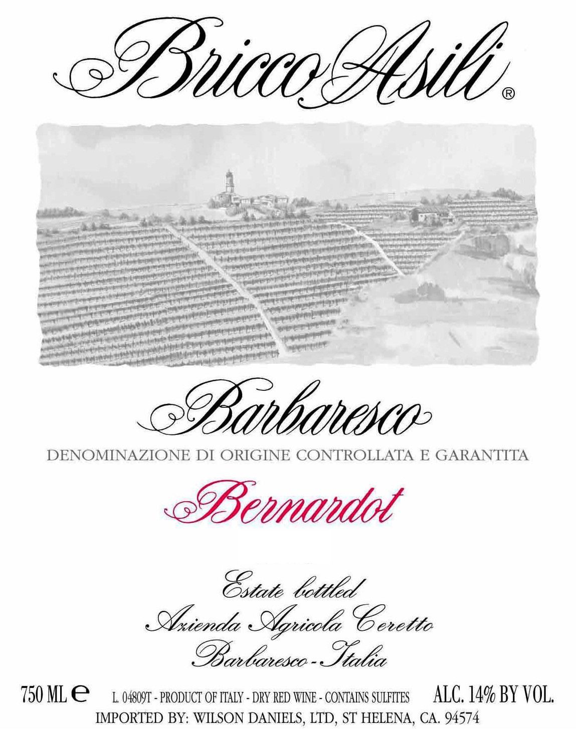 Ceretto Barbaresco Asili Bernardot 2007 Front Label