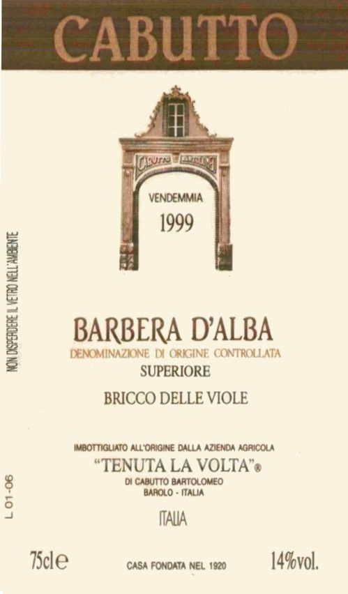 Cabutto Barbera d'Alba Superiore 1999 Front Label