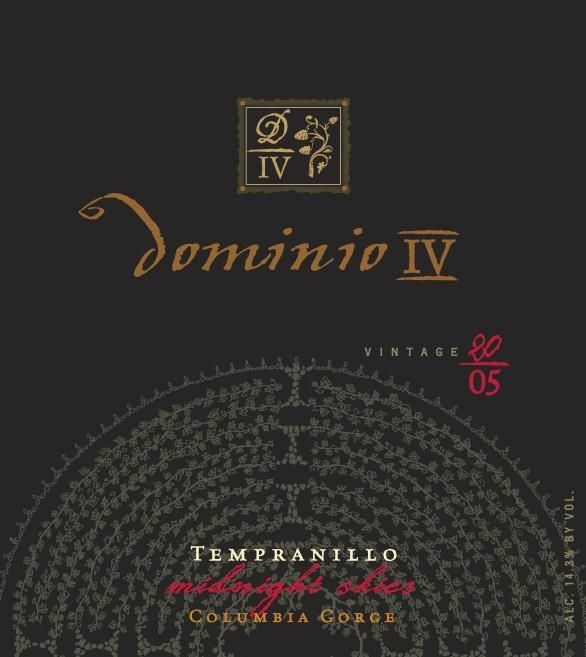 Dominio Wines IV Midnight Skies Tempranillo 2005 Front Label