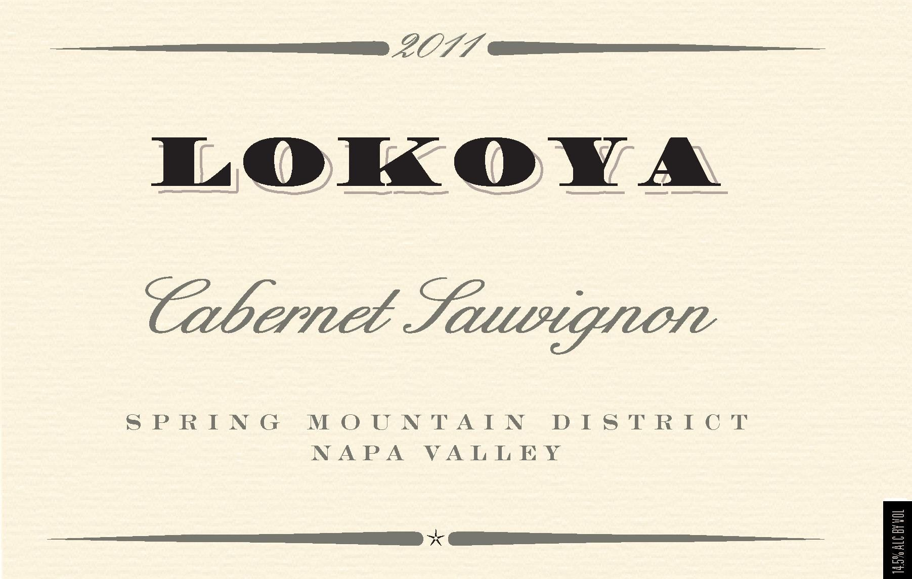 Lokoya Spring Mountain District Cabernet Sauvignon 2011 Front Label