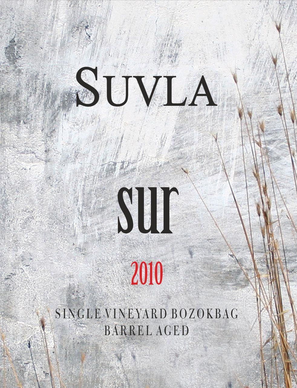 Suvla Winery Sur Red 2010 Front Label