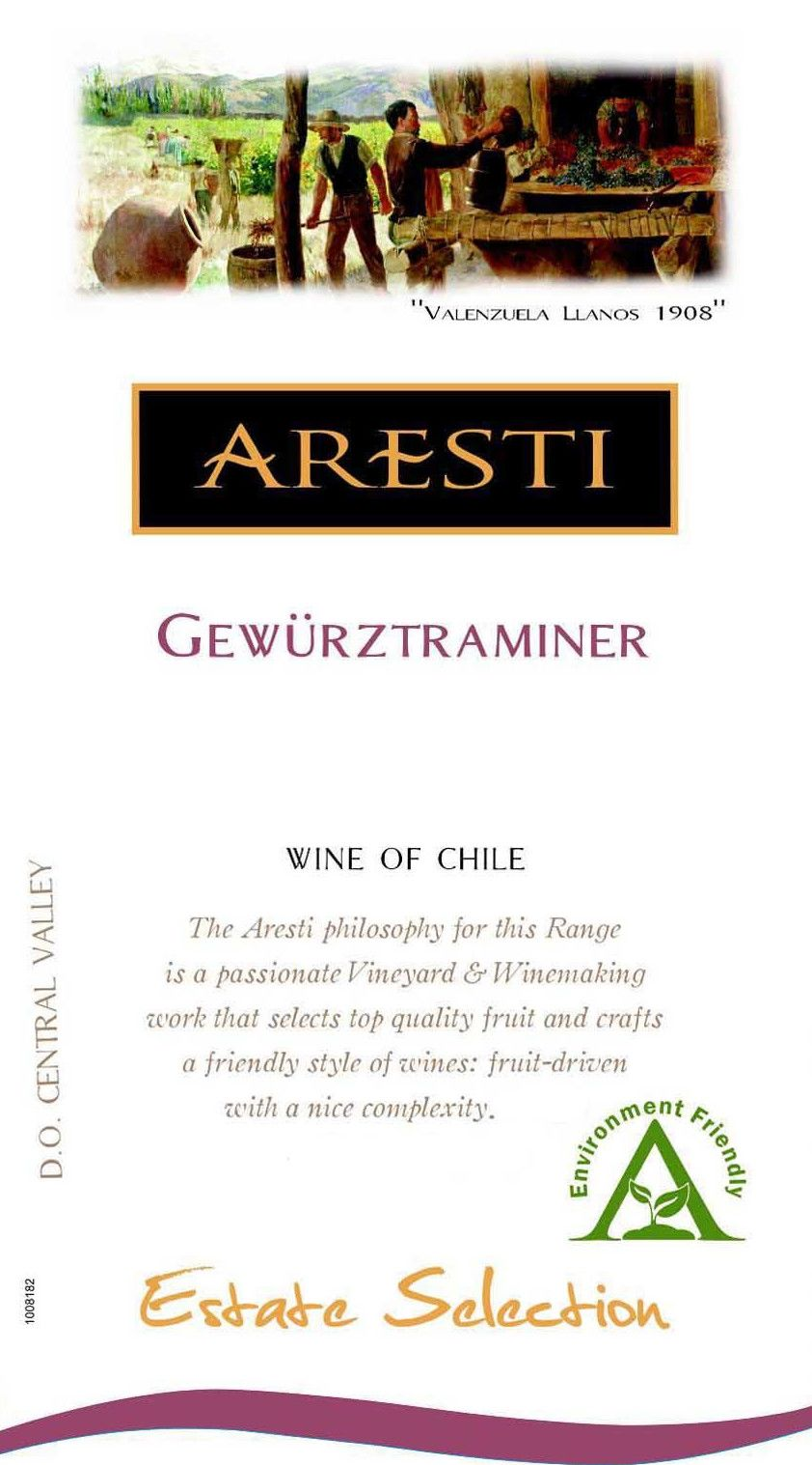Aresti Estate Selection Gewurztraminer 2015 Front Label