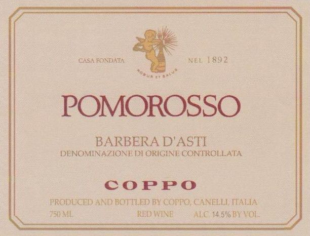 Coppo Barbera d'Asti Pomorosso 2008 Front Label