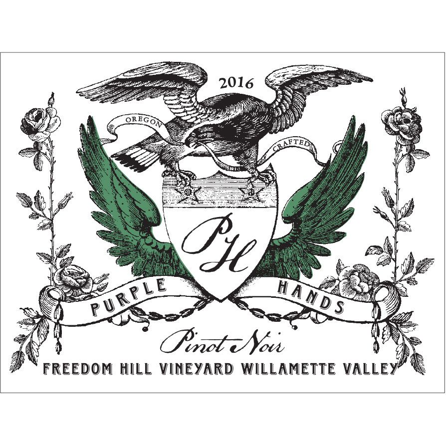 Purple Hands Freedom Hill Vineyard Pinot Noir 2016 Front Label