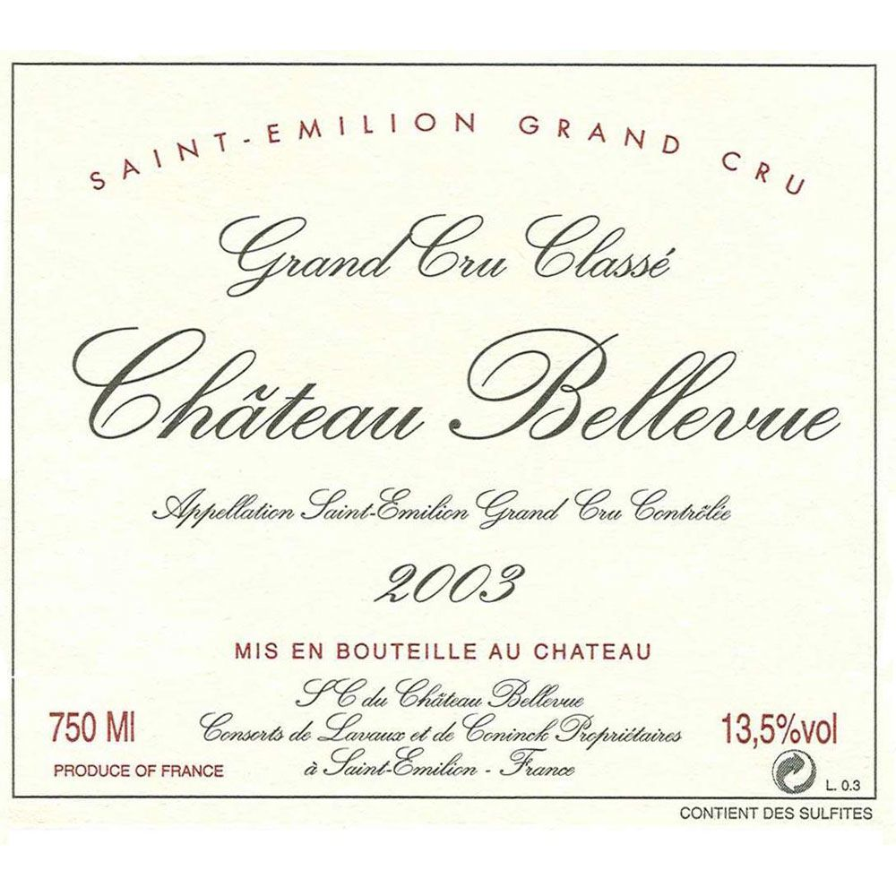 Chateau Bellevue  2003 Front Label