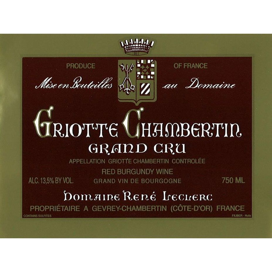 Rene Leclerc Griottes Chambertin Grand Cru 2002 Front Label