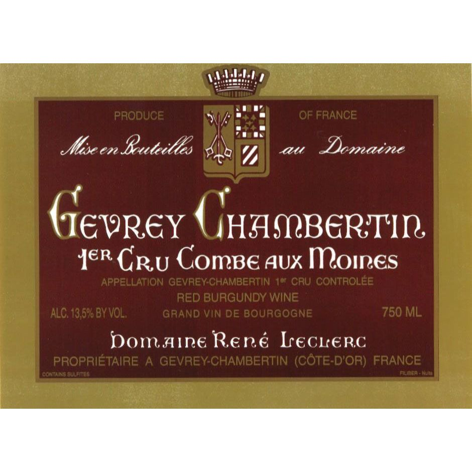 Rene Leclerc Gevrey Chambertin Combes aux Moines Premier Cru 2002 Front Label