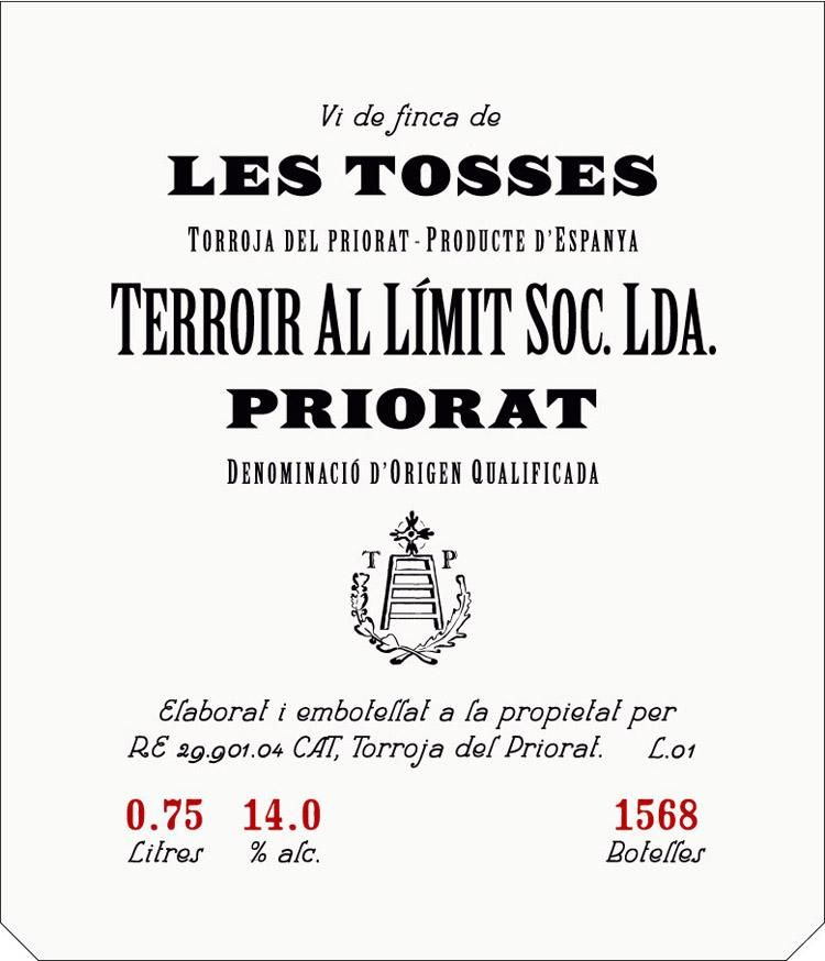 Terroir Al Limit Soc. Lda. Les Tosses 2012 Front Label