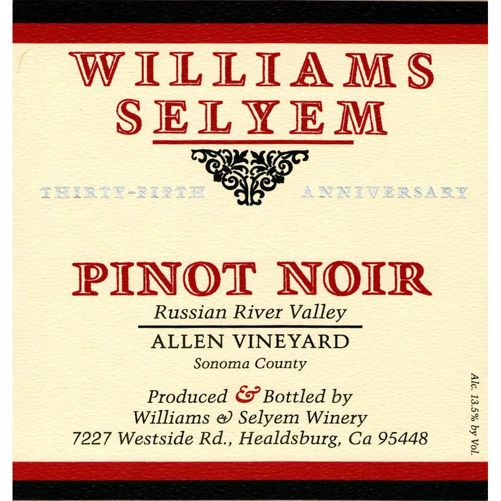 Williams Selyem Allen Vineyard Pinot Noir 2002 Front Label