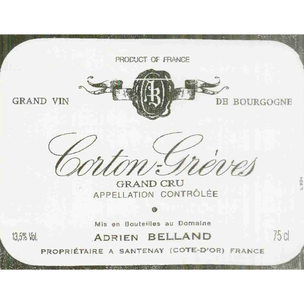 Adrien Belland Corton Greves 1990 Front Label