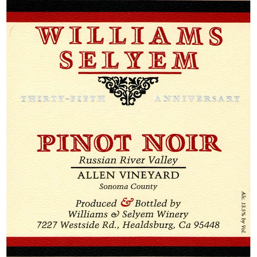 Williams Selyem Allen Vineyard Pinot Noir 2001 Front Label