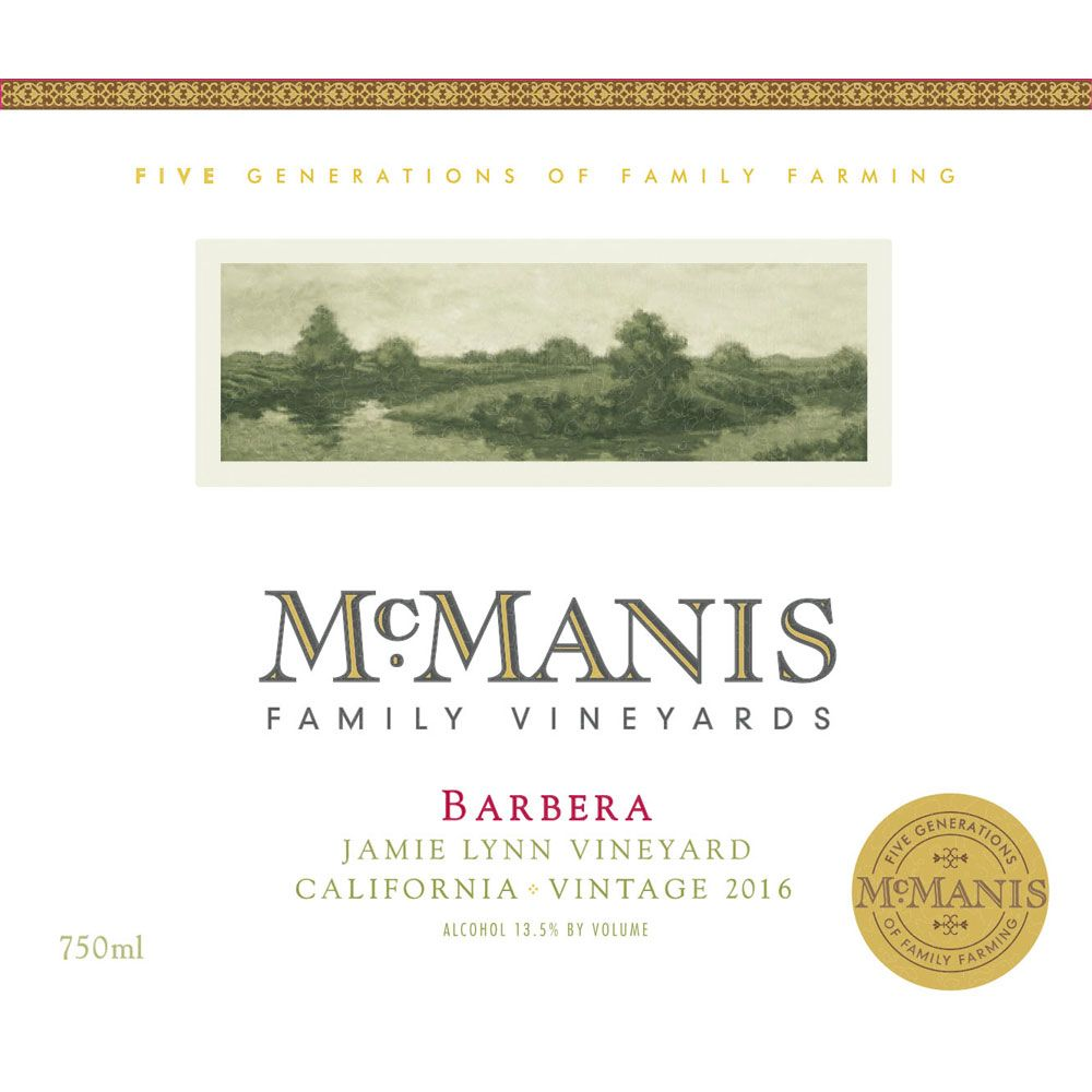 McManis Family Vineyards Barbera 2016 Front Label