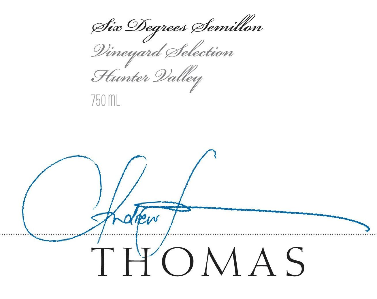 Thomas Wines Six Degrees Semillon 2016 Front Label