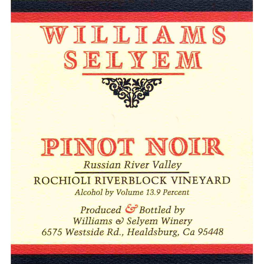 Williams Selyem Rochioli Riverblock Vineyard Pinot Noir 2001 Front Label