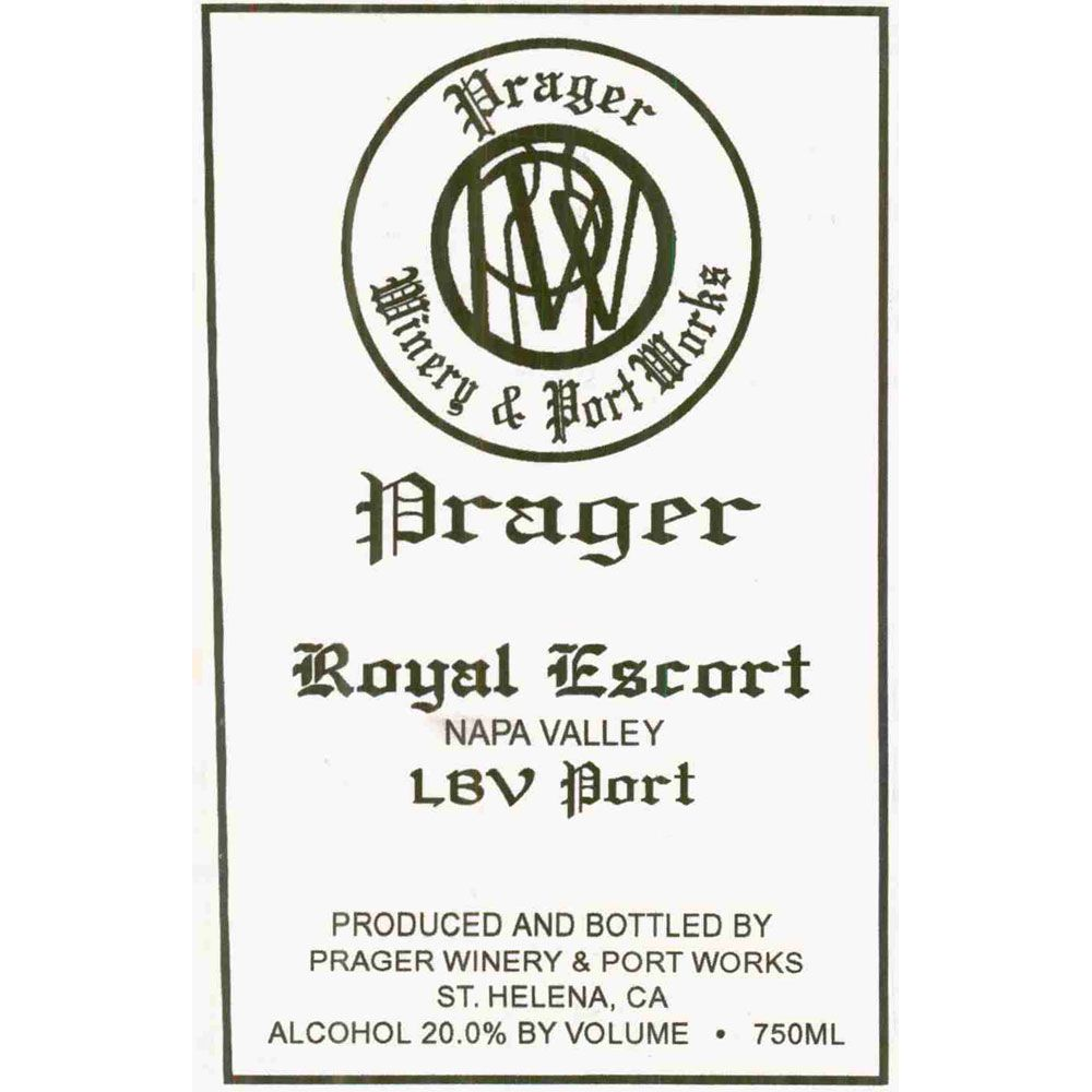 Prager Winery & Port Works Royal Escort LBV Port 1991 Front Label