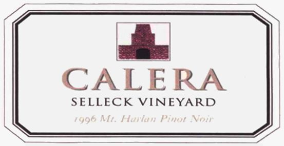 Calera Selleck Vineyard Pinot Noir 1996 Front Label