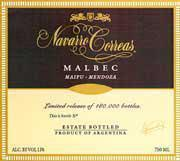 Navarro Correas Malbec 1999 Front Label