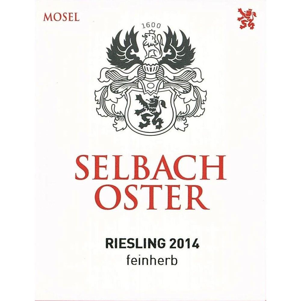 Selbach Oster Riesling Feinherb 2014 Front Label