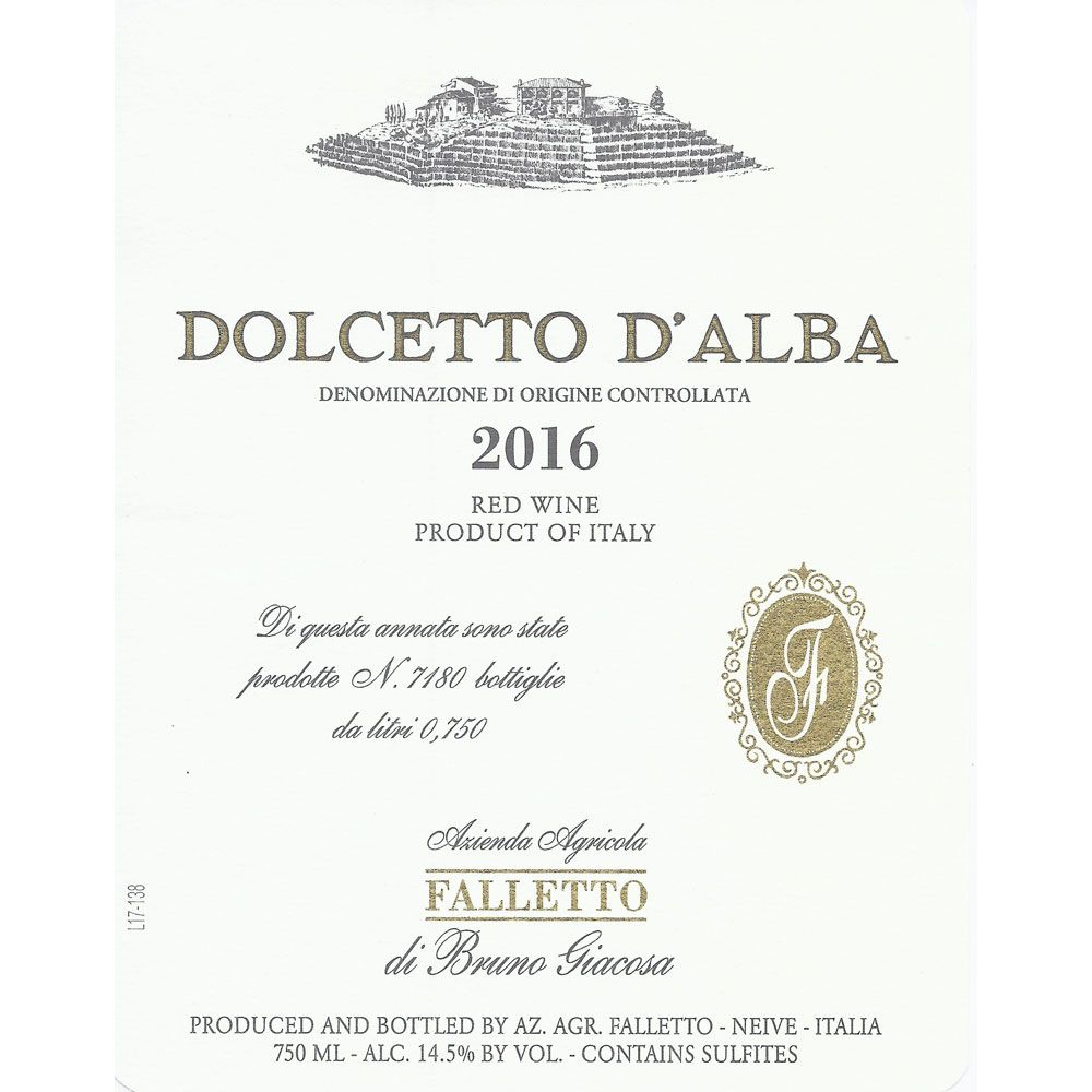 Bruno Giacosa Falletto Dolcetto d'Alba 2016 Front Label