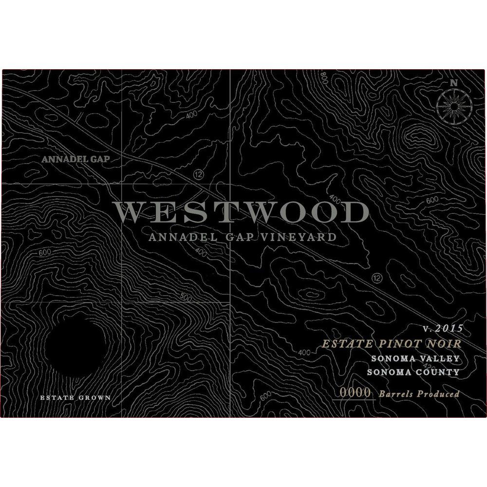 Westwood Winery Annadel Gap Vineyard Estate Pinot Noir 2015 Front Label