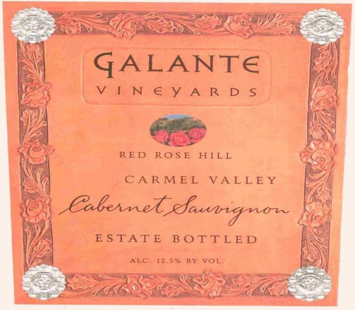 Galante Vineyards Red Rose Hill Cabernet Sauvignon 2002 Front Label