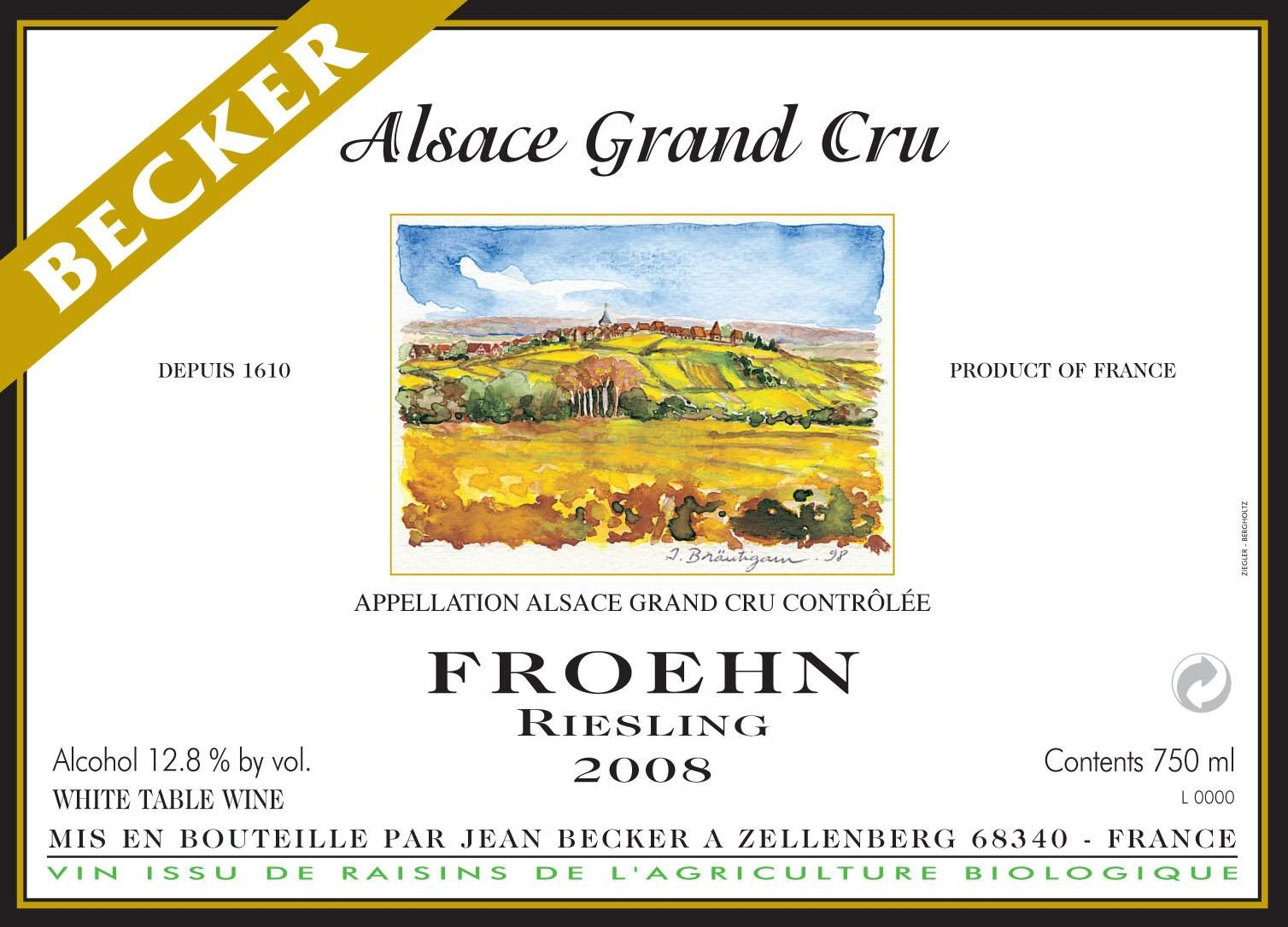 Vins Becker Froehn Riesling 2008 Front Label