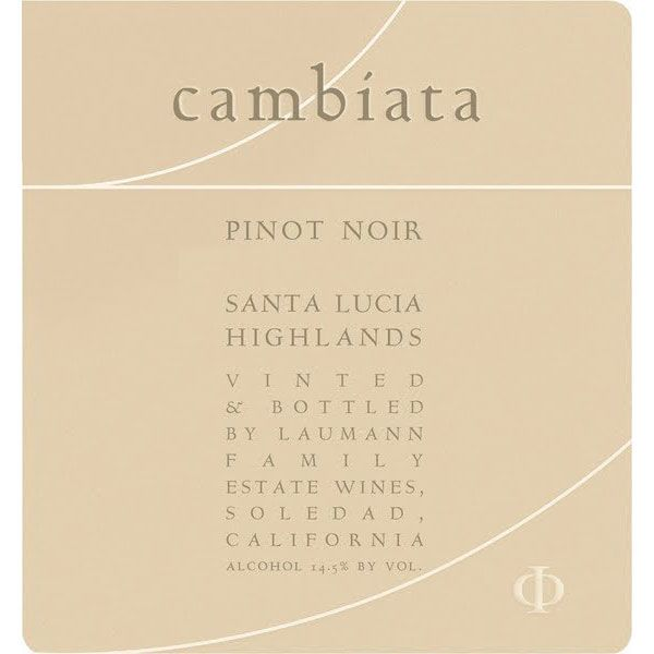 Cambiata Winery Pinot Noir 2014 Front Label