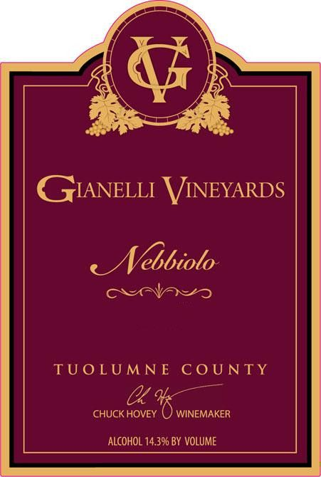 Gianelli Vineyards Nebbiolo 2010 Front Label