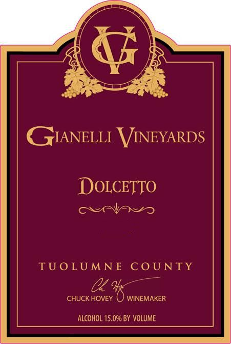 Gianelli Vineyards Dolcetto 2010 Front Label