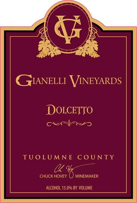 Gianelli Vineyards Dolcetto 2009 Front Label