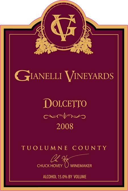 Gianelli Vineyards Dolcetto 2008 Front Label