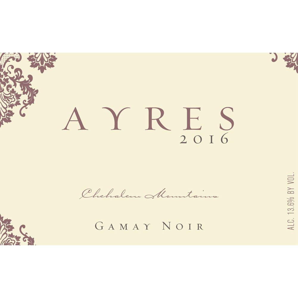 Ayres Gamay Noir 2016 Front Label