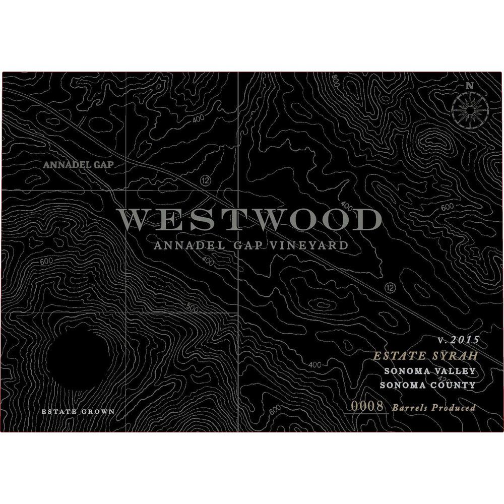 Westwood Winery Annadel Gap Vineyard Estate Syrah 2015 Front Label