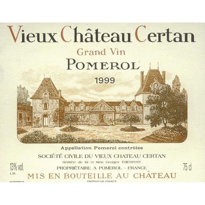 Vieux Chateau Certan (stained label) 1999 Front Label
