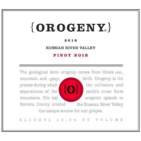 Orogeny Vineyards Green Valley Pinot Noir 2016 Front Label