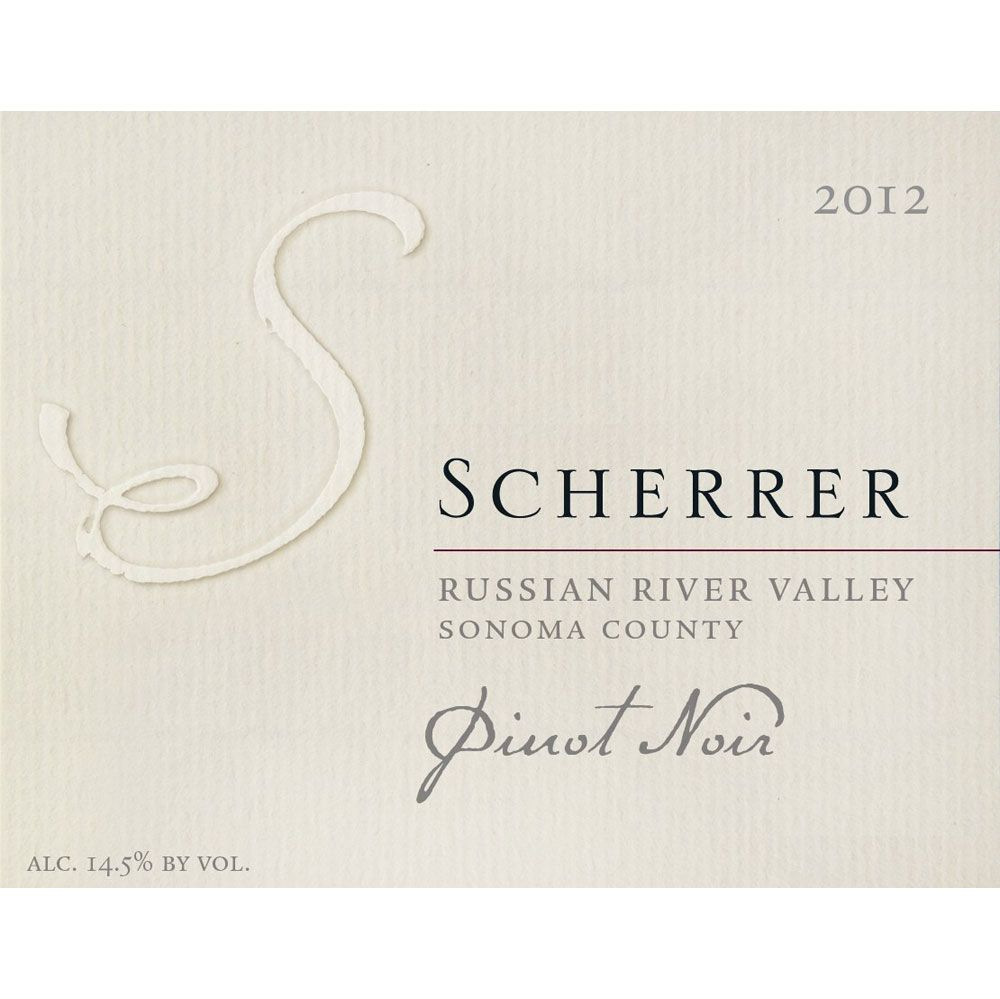 Scherrer Winery Russian River Valley Pinot Noir 2012 Front Label