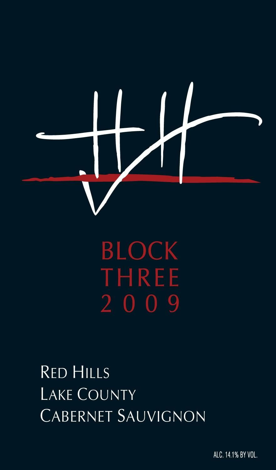 Hawk and Horse Vineyards Block Three Cabernet Sauvignon 2009 Front Label