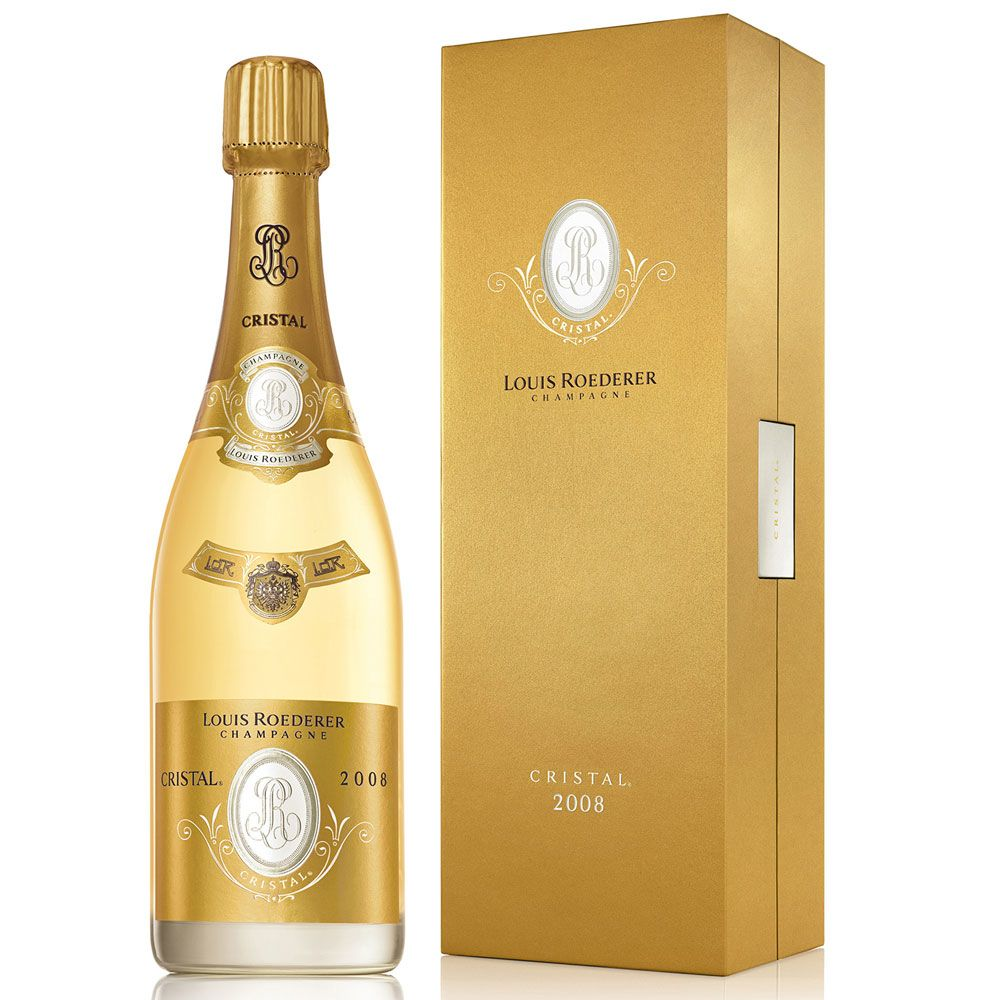 Louis Roederer Cristal Brut with Gift Box 2008 Front Label