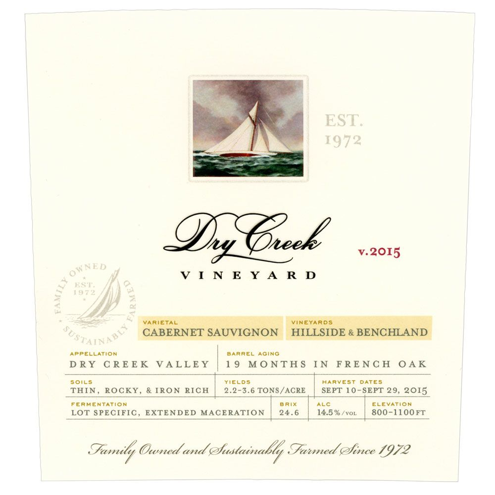 Dry Creek Vineyard Cabernet Sauvignon (375ML half-bottle) 2015 Front Label