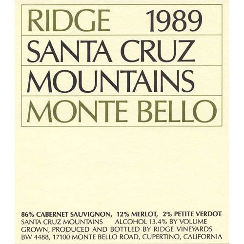 Ridge Monte Bello 1989 Front Label