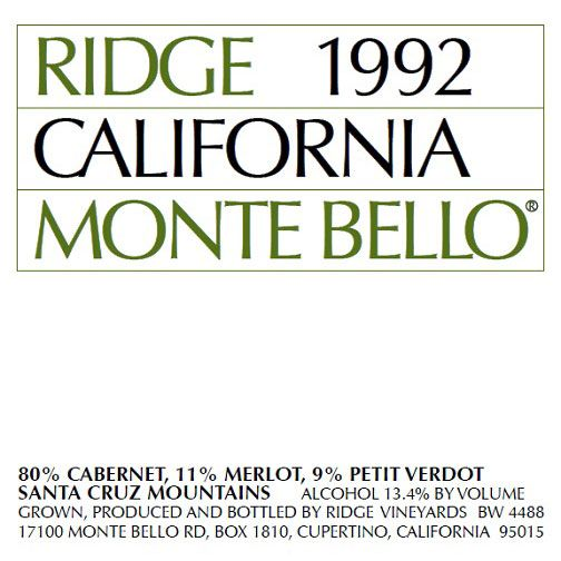 Ridge Monte Bello 1992 Front Label