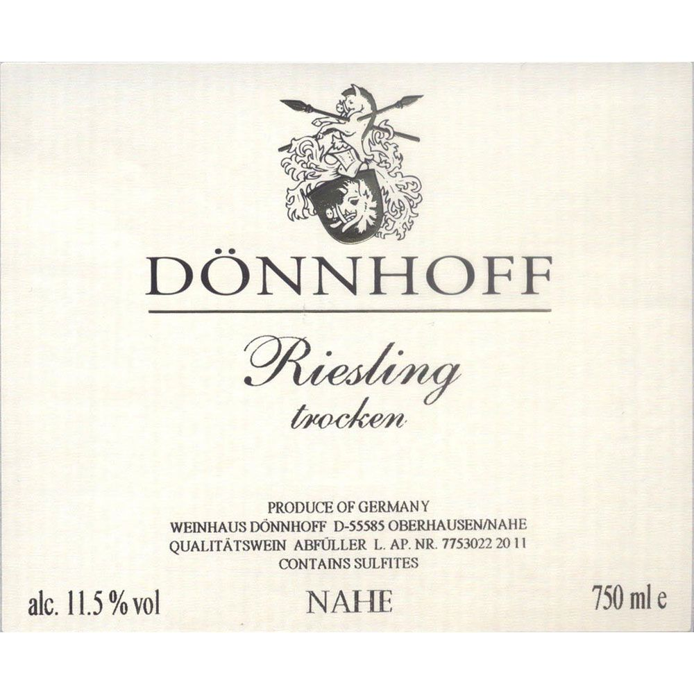 Donnhoff Estate Riesling Trocken 2017 Front Label