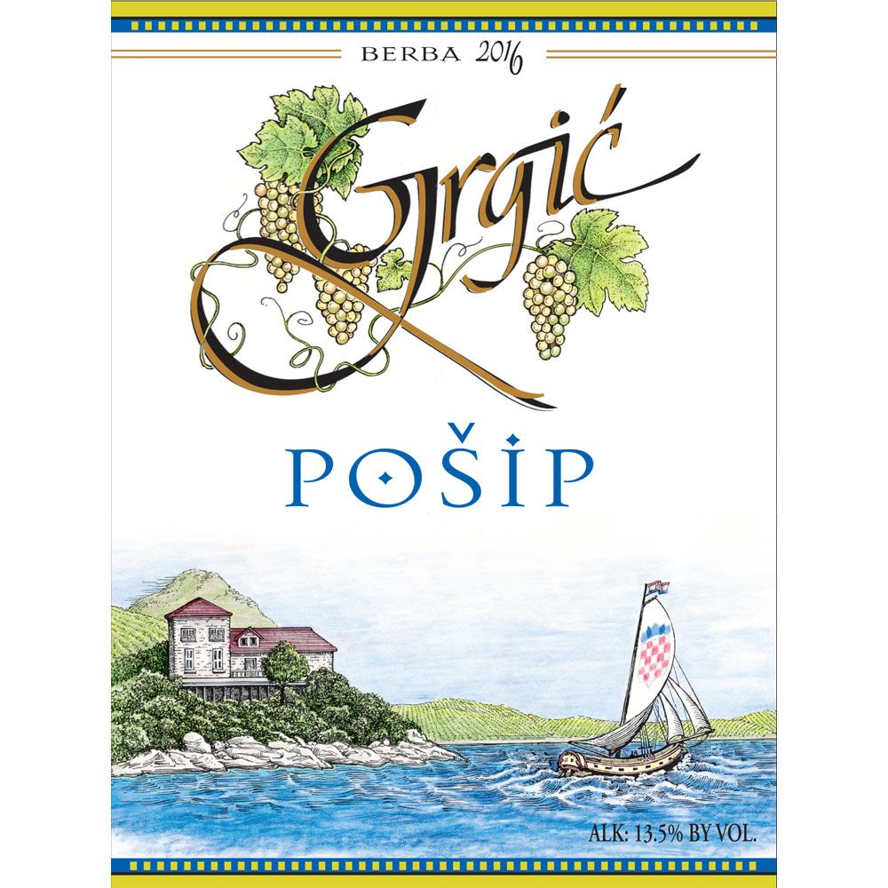 Grgic Vina Posip 2016 Front Label