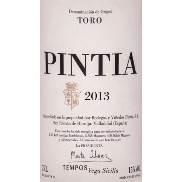 Bodegas y Vinedos Pintia  2013 Front Label