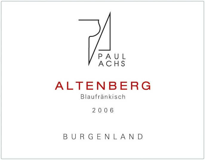 Paul Achs Altenberg Blaufrankisch 2006 Front Label