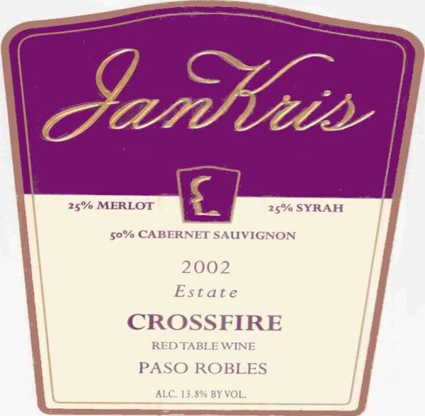 JanKris Winery Crossfire 2002 Front Label