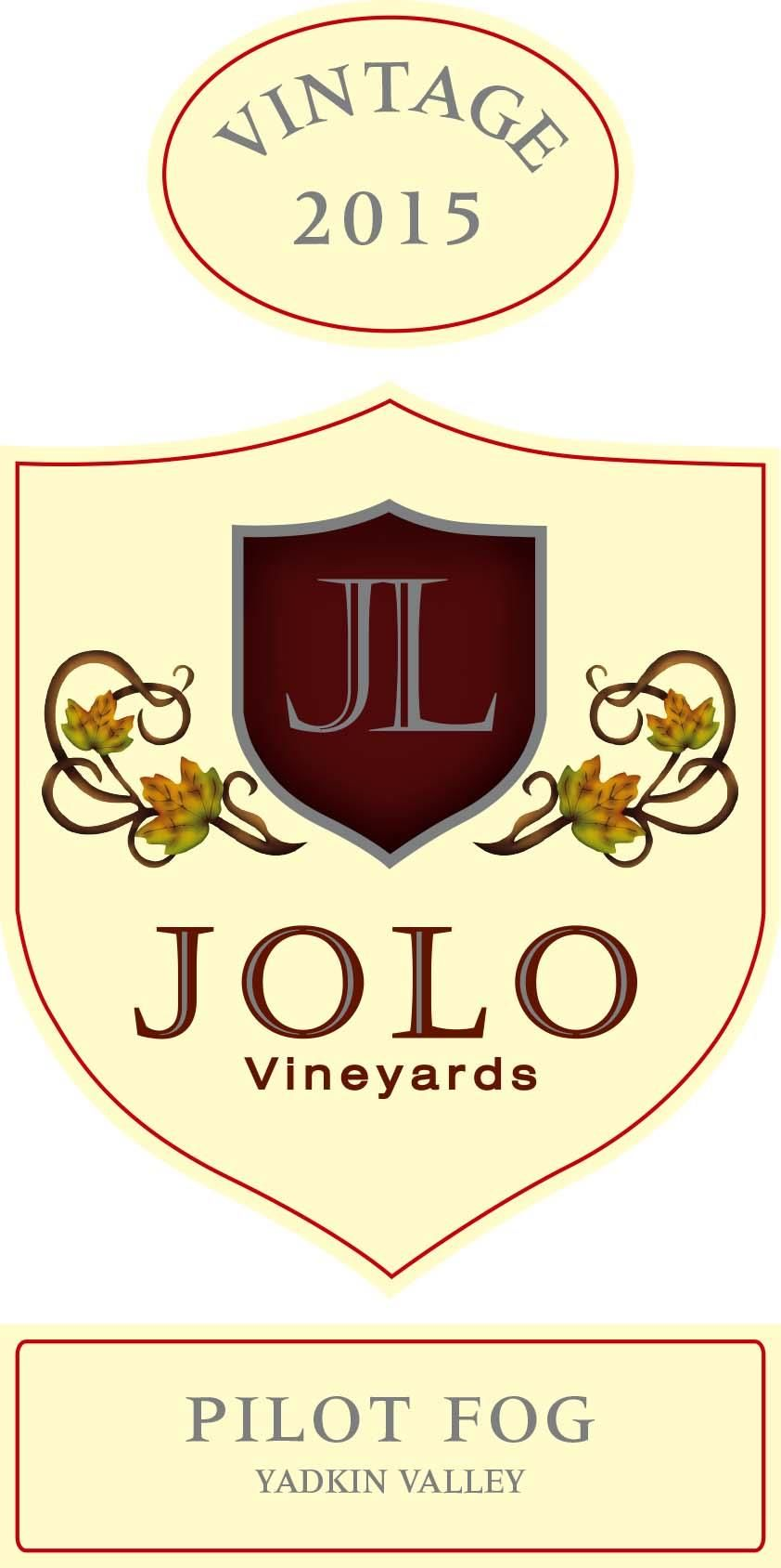 Jolo Winery & Vinyards Pilot Fog 2015 Front Label