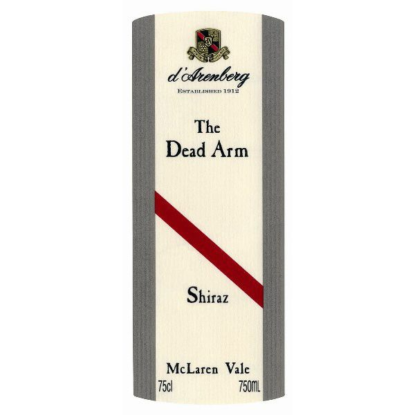 d'Arenberg The Dead Arm Shiraz (stained labels) 1999 Front Label